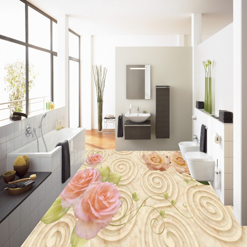 Free shipping custom European shading rose 3D marble floor self-adhesive home decoration floor living room wallpaper mural
