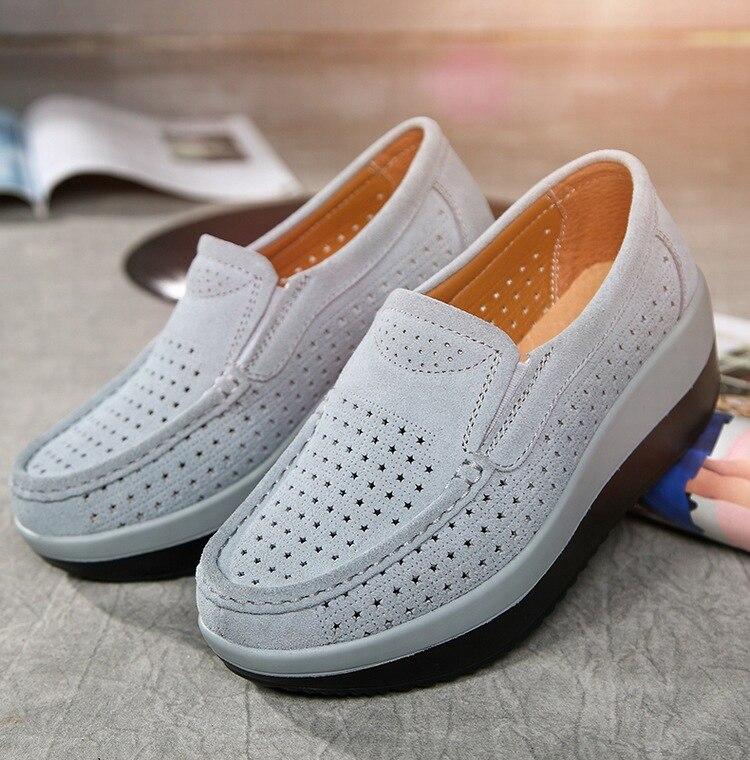 SWYIVY Для женщин тонизирующее обувь из натуральной кожи Толстая подошва дышащая Обувь для танцев летние полые большой размер 42 Женская обувь для похудения - Цвет: Серый
