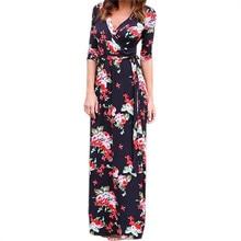 купить Women Summer Floral Print Maxi Dress Boho Beach Dress Tunic Bandage Bodycon Evening Party Long Dress Vestidos largos mujer XXL дешево
