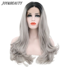 JOY&BEAUTY 26 Inch Ombre Gray 2 Tones Synthetic Lace Front Wig Dark Roots Long Natural Wave Silver Grey Replacement Full