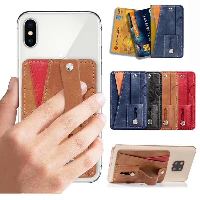 Estilingue Dedo Aperto Telefone Inteligente Universal Stand Com Suporte do Slot de Cartão Para Samsung iphone Huawei LG Xiaomi Telefone Carteira de Bolso