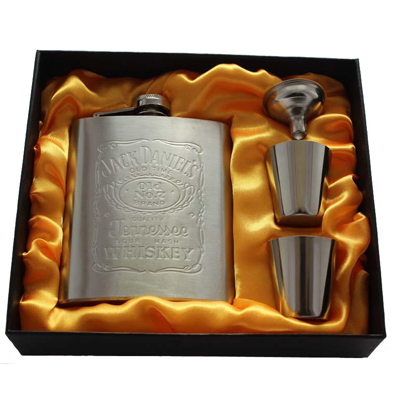 New portable stainless steel hip metal flask sets brand gift travel whiskey alcohol liquor flagon golden