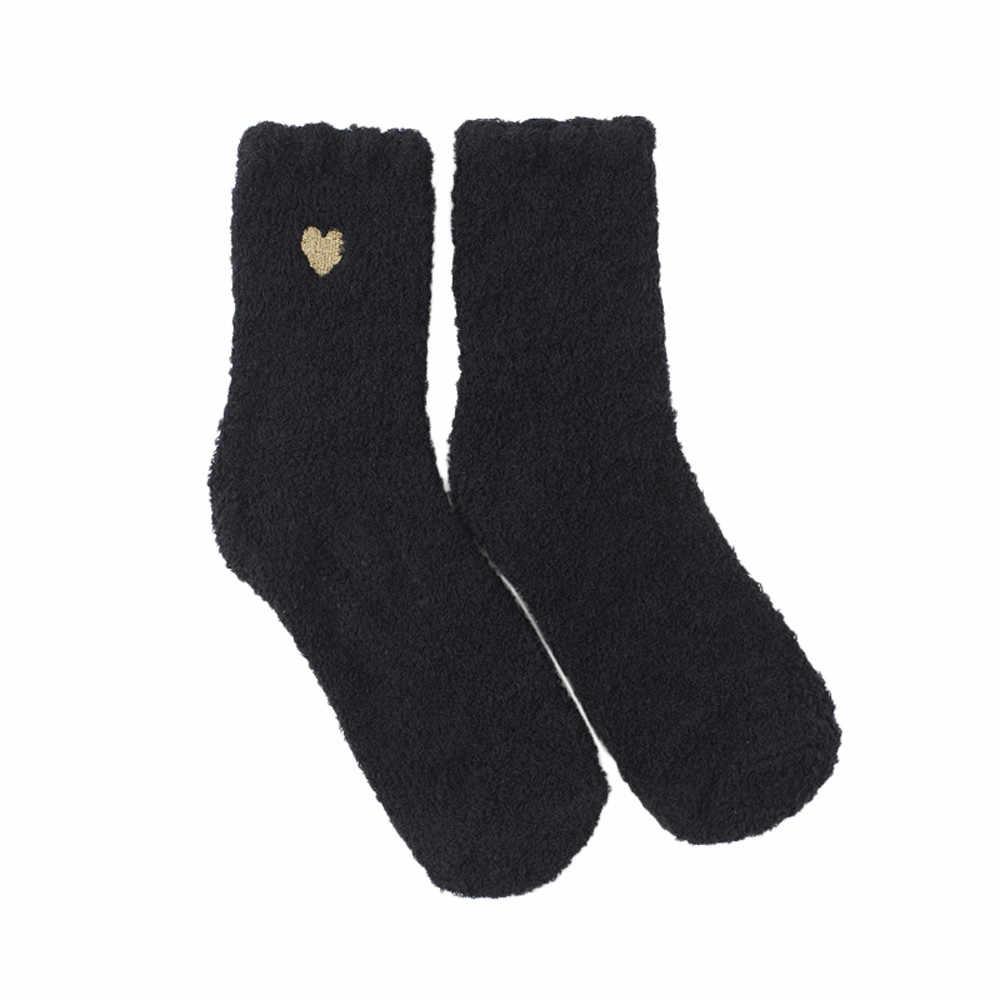 Для женщин хлопковые носки Love толще с нескользящей подошвой; коралловый флис носки-тапочки ковер носки Для женщин принт короткие носки с цветочным принтом цвета W328