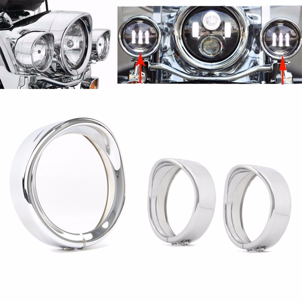 black/Chrome 7 inch Headlight Headlamp Trim Ring Harley 4.5 inch Fog Light Trim Ring For Har-ley Touring Road King Electra Glide