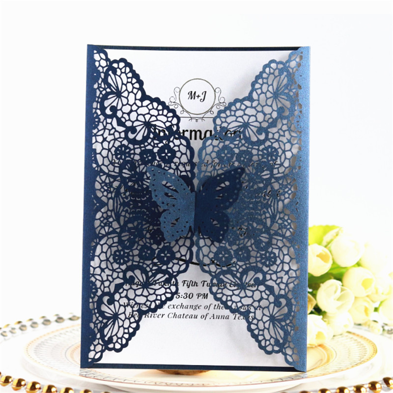 Butterfly spring wedding invitation rural laser cut party invites multi colors offer personalized printing 50pcs