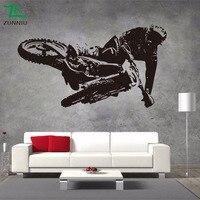 オートバイレースウォールステッカービニール壁画リビングルームの寝室の背景装飾壁画男の子寝室アートステッカ