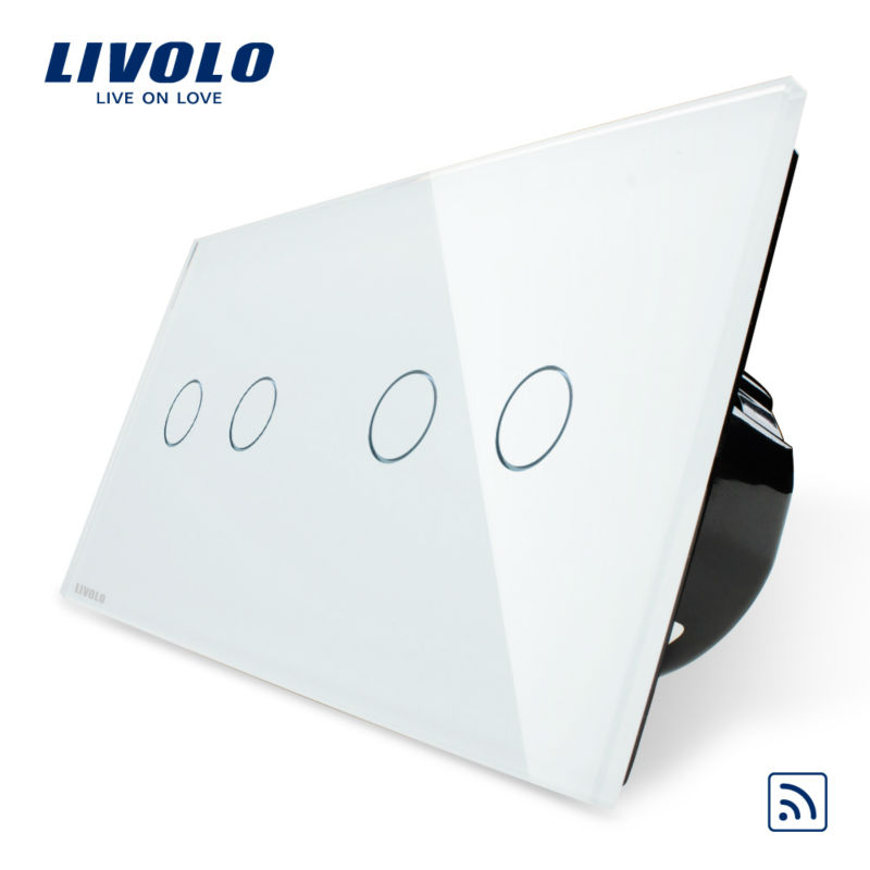 Livolo, Easy Life, 4-Gang Remote touch screen, Luxury Tempered Glass Panel, home wall light switch, VL-C702R-11/VL-C702R-11 eu plug 1gang1way touch screen led dimmer light wall lamp switch not support livolo broadlink geeklink glass panel luxury switch