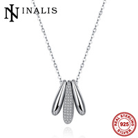 Unique Fashion 925 Sterling Silver Costume Jewelry Shining Czech Crystals Inlaid Three Bullets Shape Pendant Necklace