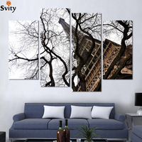 Fashion 4Piece/lotModern Paris Effiel Tower and tree Painting Picture HD Landscape picture print on Canvas Wall Art No Frame