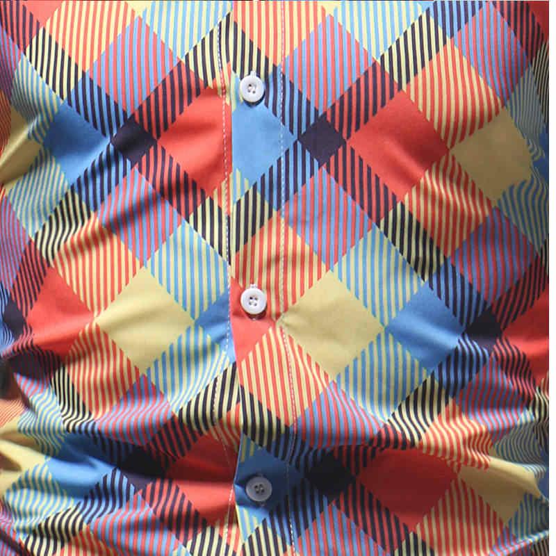 2019 с цветным Ретро принтом Мужская Повседневная Рубашка классическая мужская рубашка с длинным рукавом Новая модная весенняя рубашка
