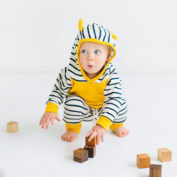 Autumn Newborn Infant Baby Boys Girls Clothes Sets Long Sleeved Hooded Jacket + Striped Pants 2PCS Baby Clothes Suit 0-24 Months 17