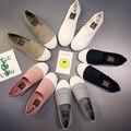 2017 Mujeres de La Manera de Los Holgazanes de Lona Slipony Oxford Pisos Tacones Resbalón Respirable en Cómodos Mezclas de Colores blanco Negro zapatos 9