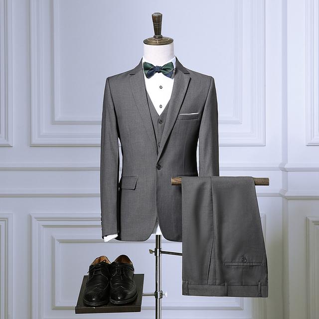 Homens Slim fit ternos Jaqueta + Calça + colete calças casaco colete projeto 2016 Moda Do casamento Smoking preto azul vermelho 4 cores Ternos Masculinos