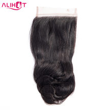 Ali Hot Hair Loose Wave Lace Closure 10-22 inch Malaysian 4*4 Free/Middle/Three Part Non-Remy Human Hair Closure Free Shipping(China)