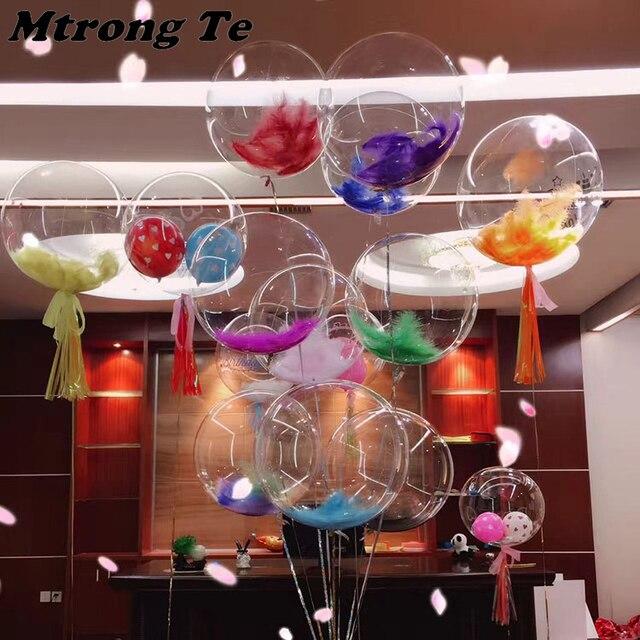 2c6ece54358 100 unidades pacote bolhas pena transparente Sem Rugas de hélio balões Céu  Cor de Rosa