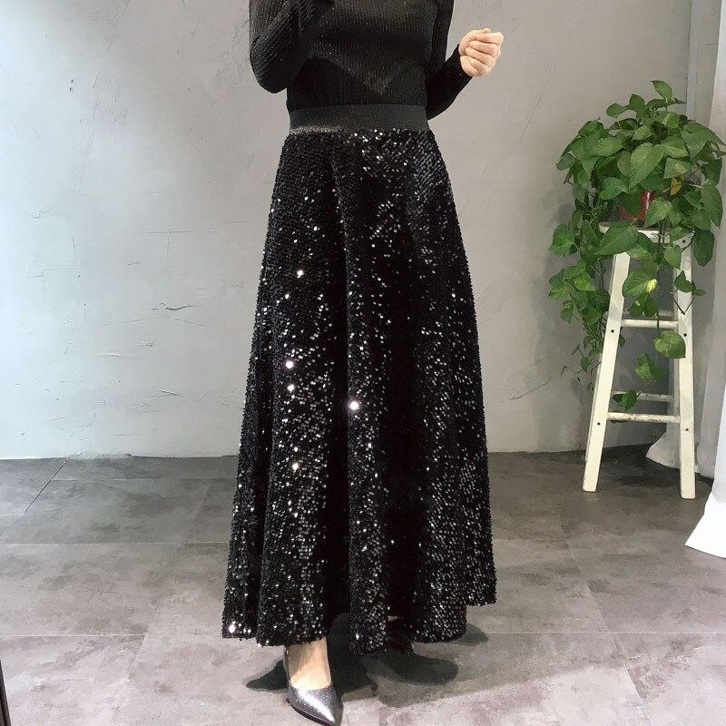 Mode longue jupe femmes 2019 printemps automne nouveau Design paillettes élastique taille haute velours jupe filles étudiant grand pendule jupes