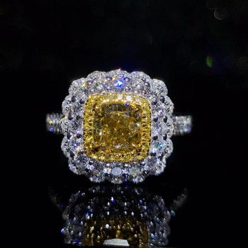 Royal jewelry supplier wholesale classic luxury 18k white gold real natural yellow diamond ring for women wedding engagement 1
