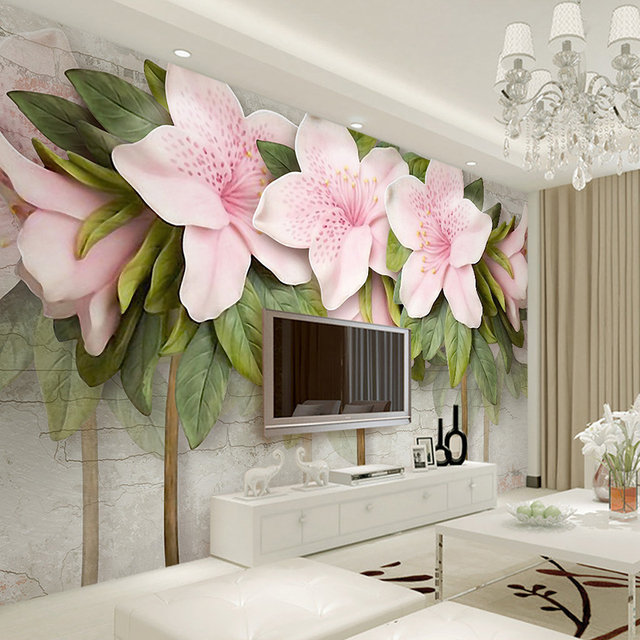 3D Wallpaper Stereo Relief Pink Flowers Leaves Brick Wall Murals ...