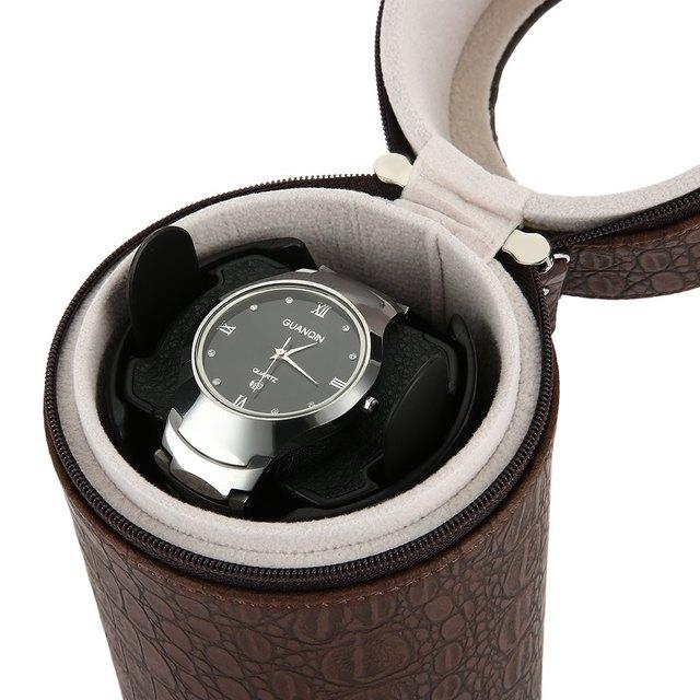 2017 Nuevo Enrollador de Reloj Automático Del Cilindro Mute Enrollador de Reloj de LA PU Enrollador de Reloj de cuero Caja de Reloj Caja de Presentación de Regalos EE. UU. Plug caja