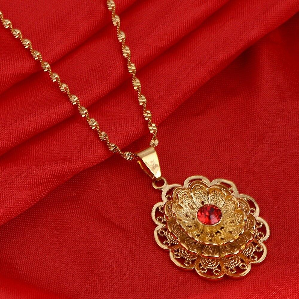 Эфиопский Шарм Подвески Для женщин африканского золота Цвет Дубай Ожерелья для мужчин цветочные украшения