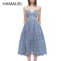 Self Portrait Runway Dress 2017 Summer Women Hollow Out Solid Lace Spaghetti Strap Sexy Ladies Sleeveless