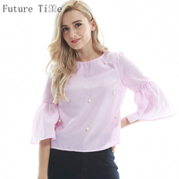 Summer Women Pearls Blouse Flare Sleeve Shirt O Neck Three Quarter Sleeve Blouse Casual Tops Ladies