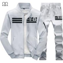 ae873e8353203 Marka erkek Spor Rahat Hoodies 2018 Kış 2 ADET Eşofman erkek Ceketler +  Pantolon Erkek Fermuar Tişörtü Suits adam Setleri 4XL