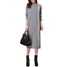 Spring Autumn Cashmere Dress Women Loose Long Sweater Pullover 2019 New Elegant Half Turtleneck Knit Dress Female Sweater NO659 cable knit half zip up pullover sweater
