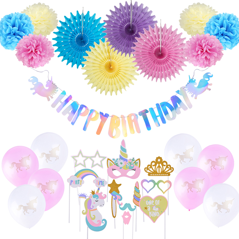 Unicorn Birthday Party Decoration Supplies Latex Balloons Unicorn Theme Paper Fan Pom Pom Flower for Kids Unicorn Anniversary in Party DIY Decorations from Home Garden