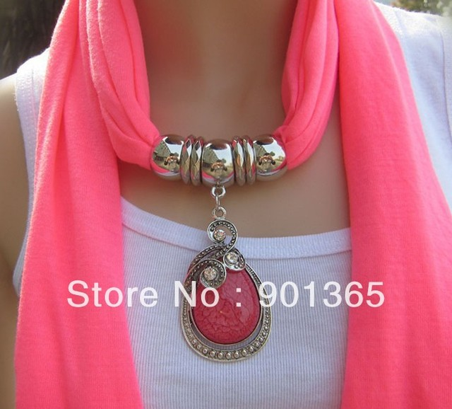 Women Adorn Article Scarf Pendant Scarf Wear Bead Tassel Scarf Jewelry Charm Pendant Scarf 14 Colors Available