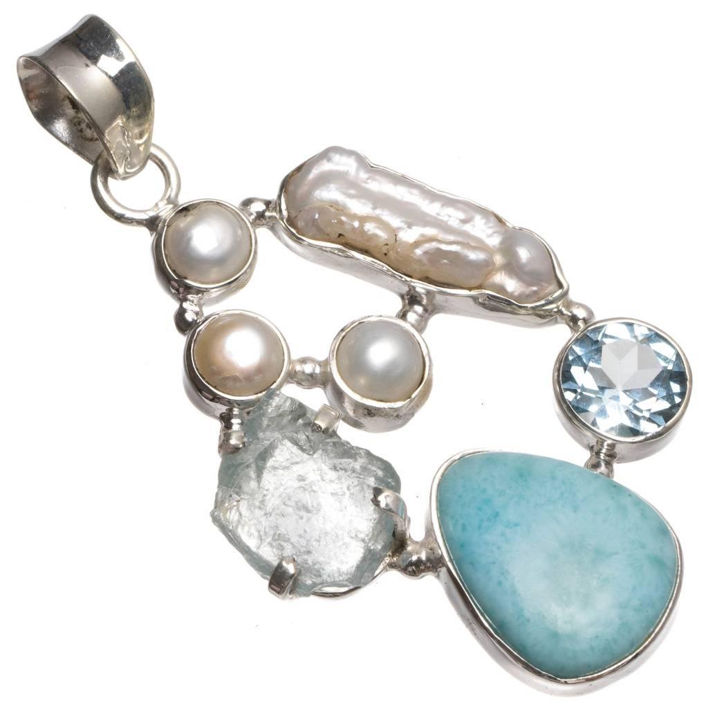 Natural Larimar,Drusy Druzy,Biwa Pearl,River Pearl and Blue Topaz 925 Silver Pendant 2 T0214 соус pearl river bridge тонкацу 200 мл