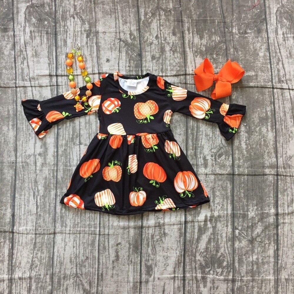 Fall/winter Halloween dress baby girls long sleeves black pumpkin print milk silk clothing boutique kids wear match accessories plus size halloween pumpkin spatter print hoodie