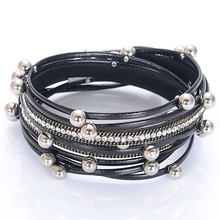 Luxury Pave Crystal Double Wrap Leather Bangle Charm Leather Bracelet With Rivet Round Beads Multilayer Women Jewelry Gift
