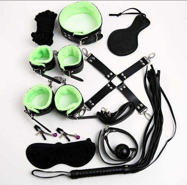 10 pcs/set adult game bondage restraints leather hand cuffs mouth gag nipple clamps whip collar fetish sex toys for couples