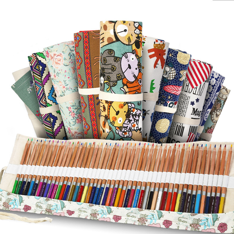 Pencil Case 36 Holes School Supplies Art Pen Bag Pouch Canvas Pen Wrap Roll Makeup Cosmetic Brush Pen Storage Stationery Student