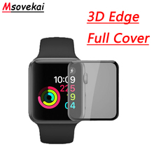 For Apple Watch Series 4 44mm 40mm 3D Full Cover Tempered Glass Watch Series 2 3 38mm 42mm Screen Protector Hard Edge Glass Film 3d glass film 38mm 42mm real tempered glass screen protector for apple watch series 3 38mm 42mm free shipping original packaging