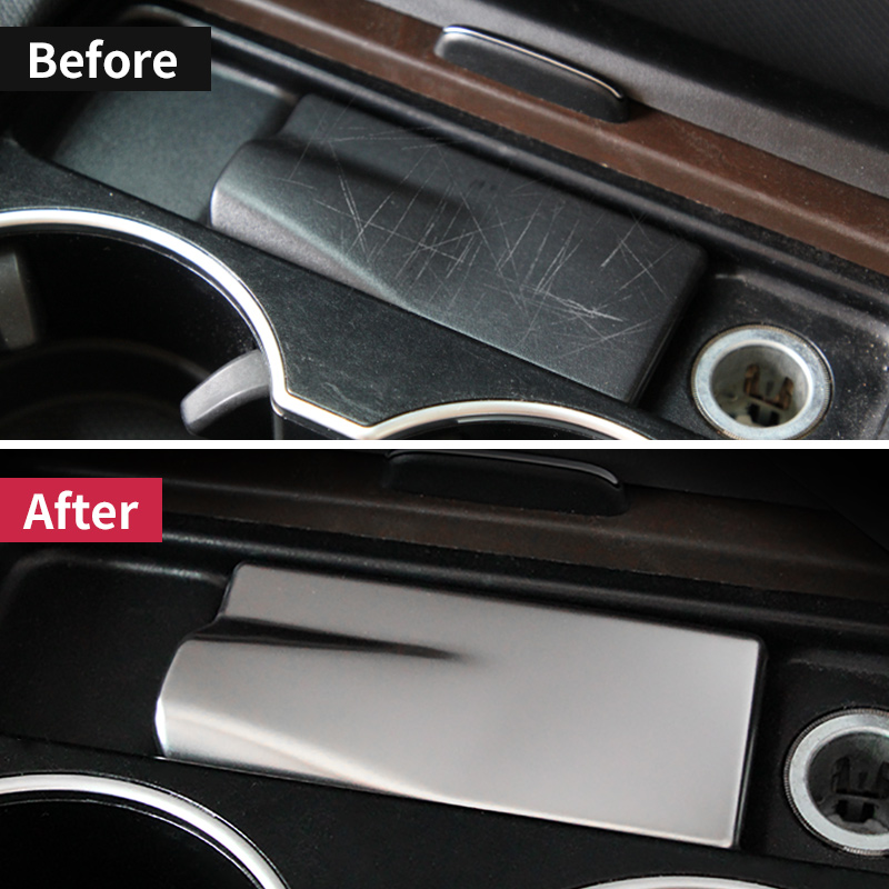 Stainless Steel Center Console Water Cup Holder Trim Strips Car Styling 2pcs For Mercedes Benz GLE W166 ML GL GLS X166