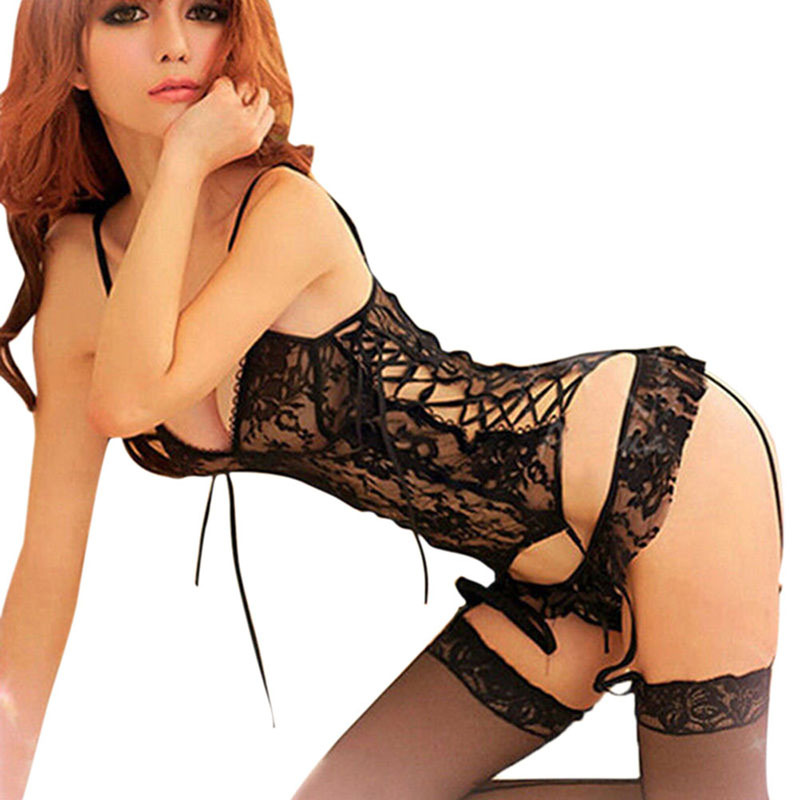 Sexy Lingerie Women Ladies Sexy Lace Underwear Nightwear Sleepwear The Top + G-string Perspective Nighty Dress