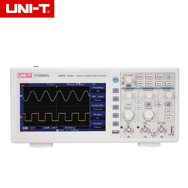 New Price UNI-T UTD2052CL Digital Oscilloscopes 2CH 50MHZ Scopemeter Scope meter 7 inches widescreen LCD displays USB OTG interface