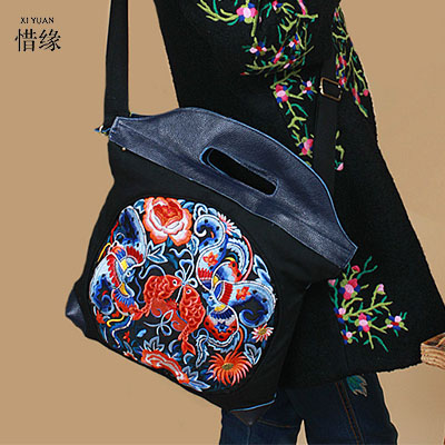 XIYUAN BRAND New National female Handbags trend embroidery bags ladies flower embroidered zipper soft shoulder messenger bags xiyuan brand ladies beautiful and high grade imports pu leather national floral embroidery shoulder crossbody bags for women