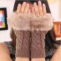 Женщины теплые Зимние Вязаные Перчатки Без Пальцев Искусственного Меха Сенсорный Экран Рук Перчатки Варежки