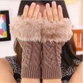 Women warmer Winter Knitted Fingerless Faux Fur Touch Screen Hand Gloves Mitten
