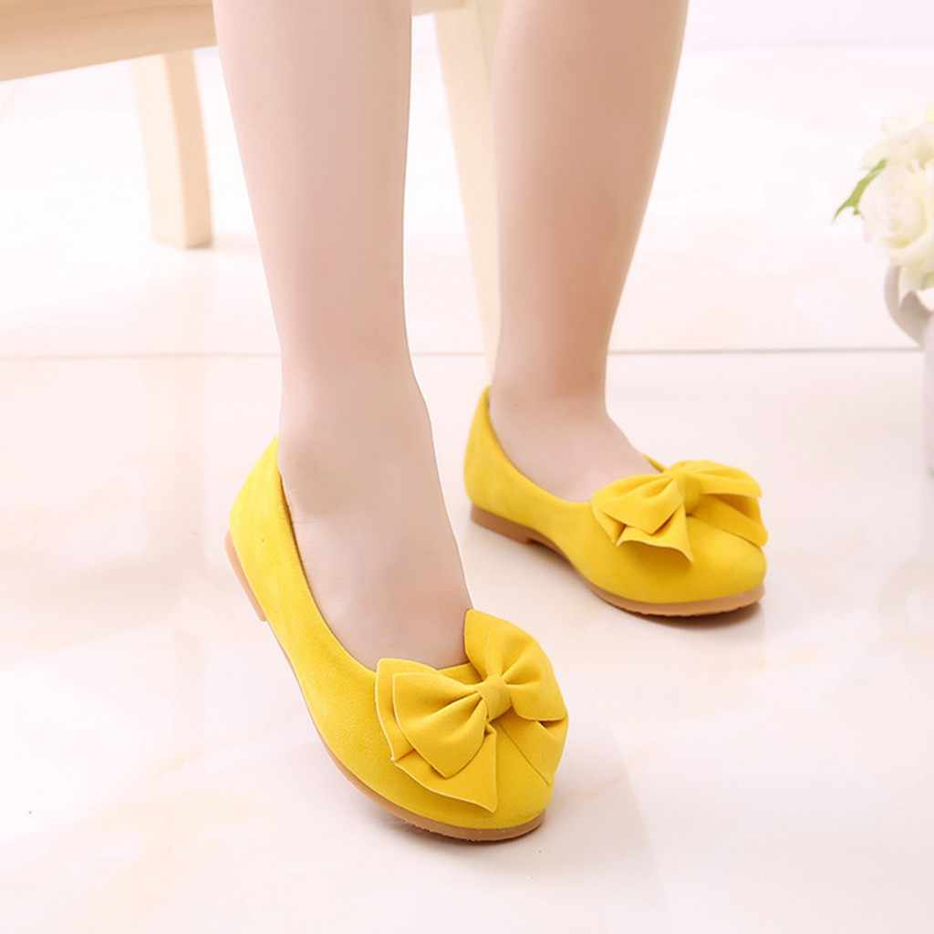 Children Casual Shoes  Kid Baby Girls  Student Single Soft Dance Solid slip on shoes yellow  Bowknot leather Princess Shoes