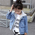 DFXD New 2017 Baby Girls Denim Jacket Spring Hooded Fashion Korean Children Clothing Girls Jeans Coats Kids Outwear 2-7Years