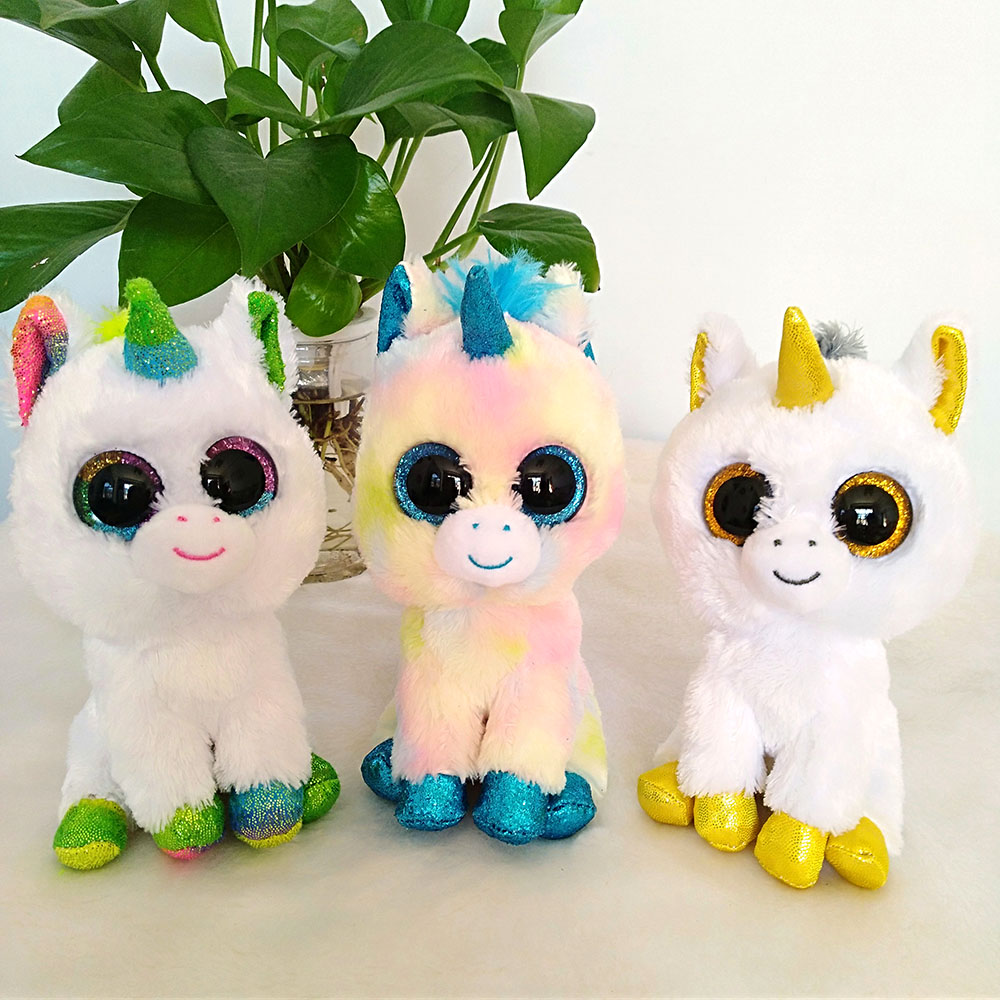 39ea80cf54f Newest Ty Beanie Boo Blitz Rainbow Pixy Pegasus the Unicorn Big Glitter  Eyes Plush Stuffed Animals Collection Christmas Gift