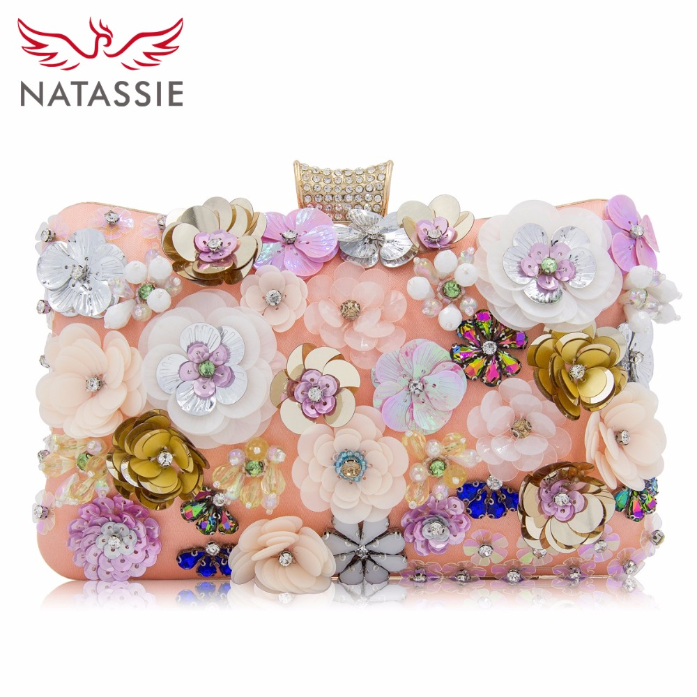 NATASSIE Women Clutch Flower Evening Bag Ladies Clutches Bags Female Floral Wedding Clutch Purses