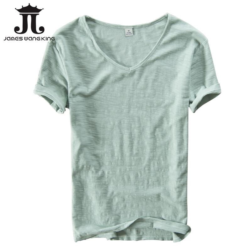 Летняя футболка мужская льняная хлопчатобумажная футболка с коротким рукавом с V-образным вырезом и дышащая футболка Удобная тонкая футболка для мужчин прямая поставка 201