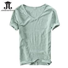 Summer t shirt men linen cotton short sleeve tshirt V-neck Tops&Tee breathable Comfortable slim t-shirt men dropshopping 201