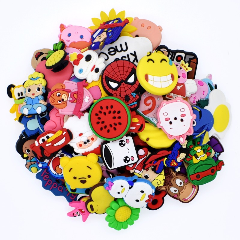 100pcs Mixed Different Random Charms Fit Clog Shoe/Bracelet Children Favor Toy Gifts