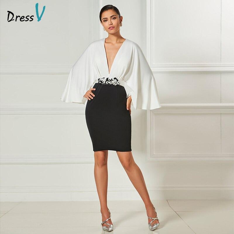 Dressv v neck sexy   cocktail     dress   2017 sheath flower mini short length long sleeves elegant   cocktail     dress   formal party   dress